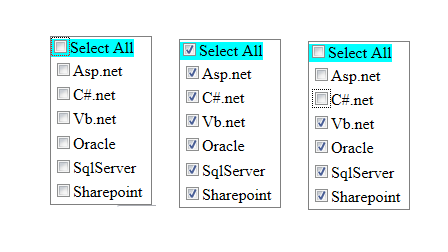 Select and Deselect all option in checkbox list using